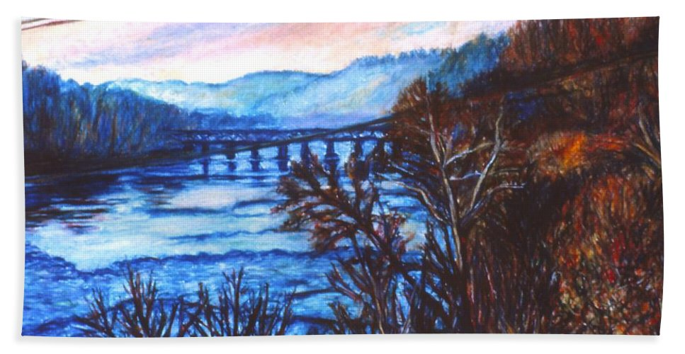 New River Trestle Hand Towel featuring the painting New River Trestle In Fall by Kendall Kessler