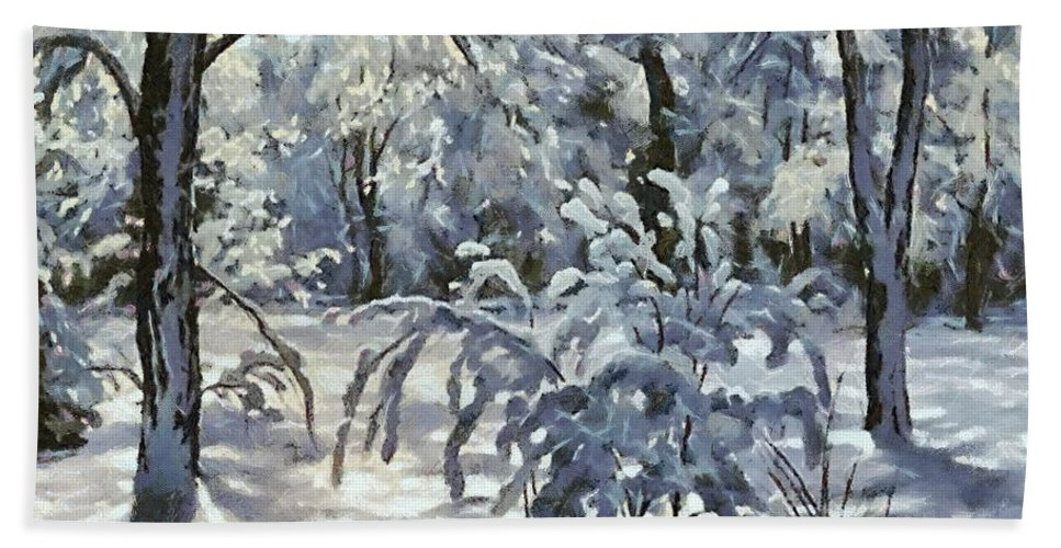 Snow Hand Towel featuring the painting New Snow by Dragica Micki Fortuna