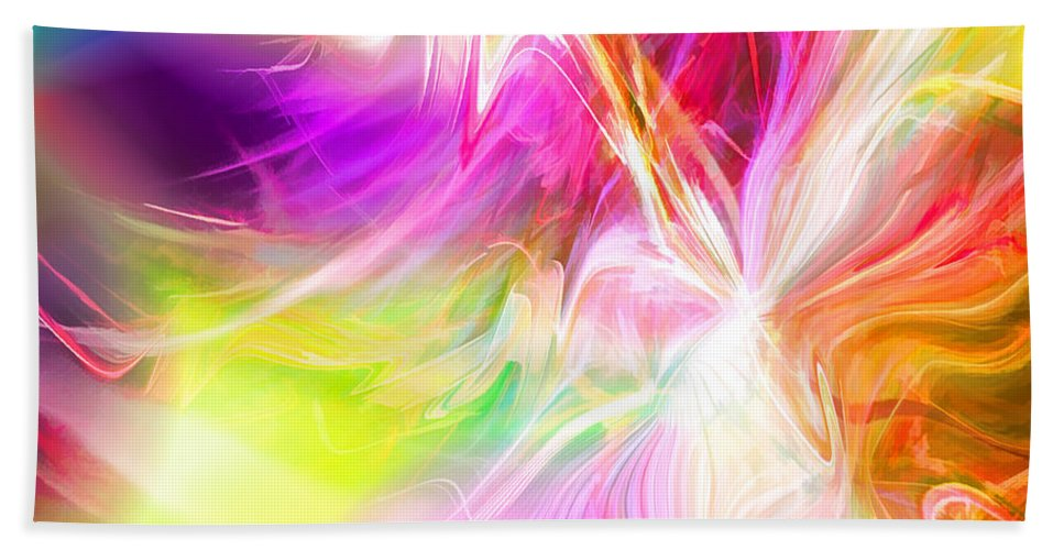 Abstract Hand Towel featuring the digital art New Thing by Margie Chapman