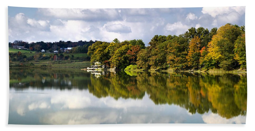 New York Bath Sheet featuring the photograph New York Cincinnatus Lake by Christina Rollo