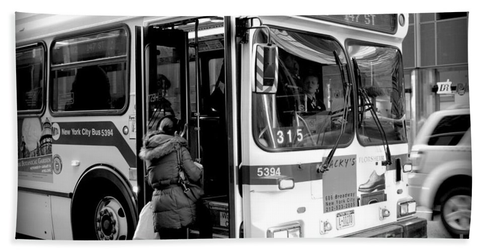 Bus Hand Towel featuring the photograph New York City Bus by Miriam Danar