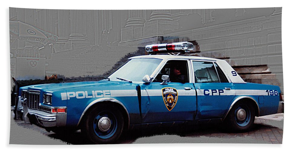 Car Bath Sheet featuring the photograph Vintage New York City Police Car 1980s by Tom Conway