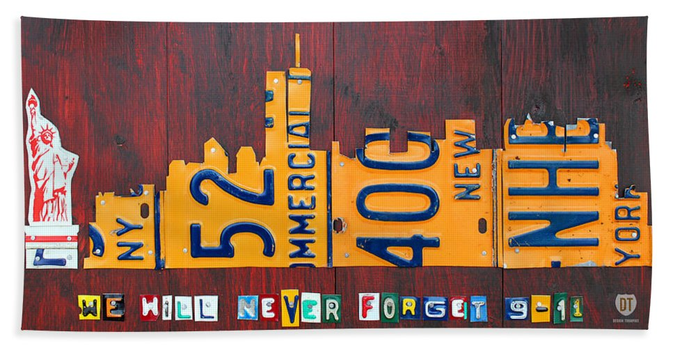 New Hand Towel featuring the mixed media New York City Skyline License Plate Art 911 Twin Towers Statue Of Liberty by Design Turnpike