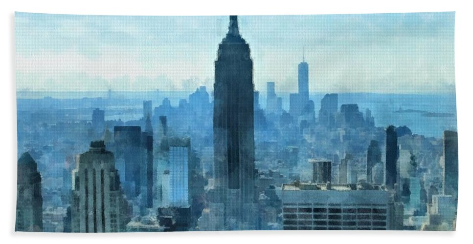 New York City Skyline Summer Day Hand Towel featuring the mixed media New York City Skyline Summer Day by Dan Sproul