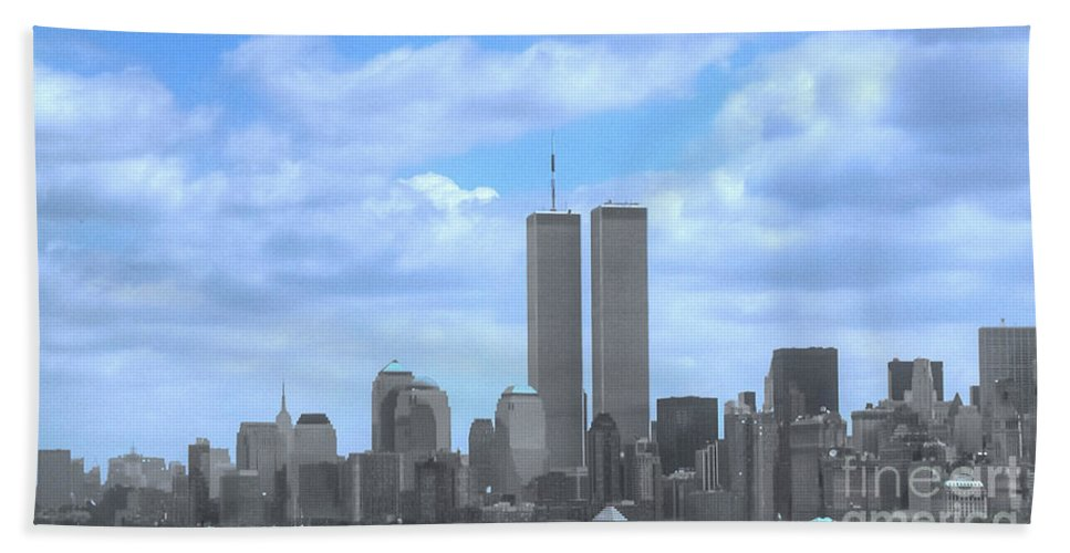 New York Bath Sheet featuring the photograph New York City Twin Towers Glory - 9/11 by Tap On Photo