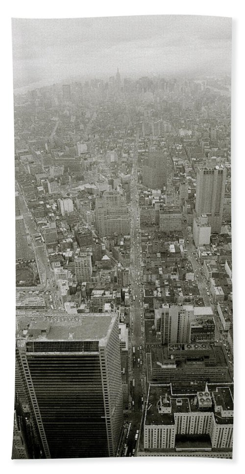 Manhattan Hand Towel featuring the photograph New York From The Trade Towers by Shaun Higson