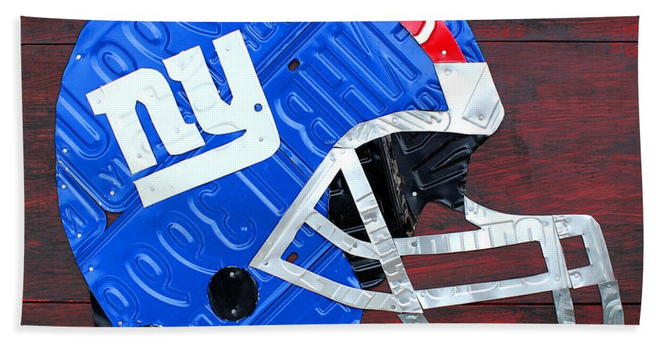 New Hand Towel featuring the mixed media New York Giants Nfl Football Helmet License Plate Art by Design Turnpike