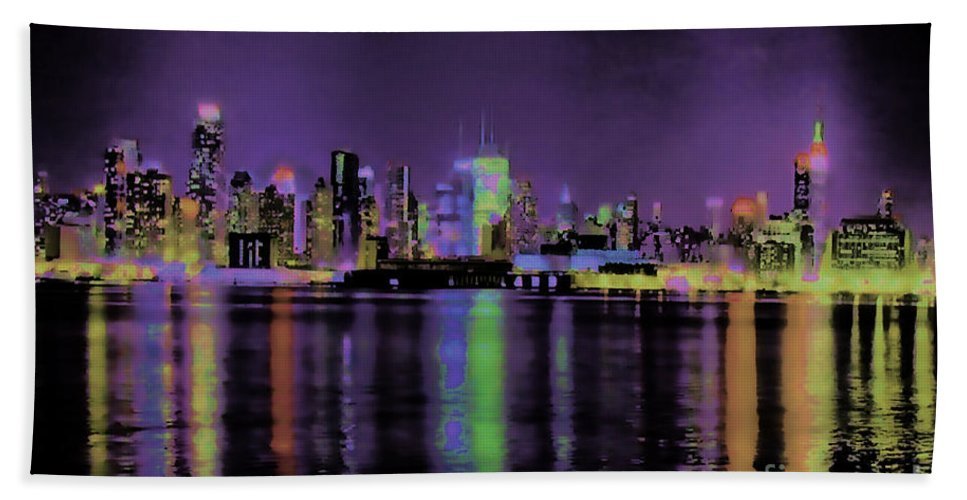 Ny City Skyline Hudson River New Jersey Shore Ocean View Vivid Color Abstract Night Time Dark Lights Bright Rj Aguilar Artist Bath Sheet featuring the photograph New York In Color by RJ Aguilar