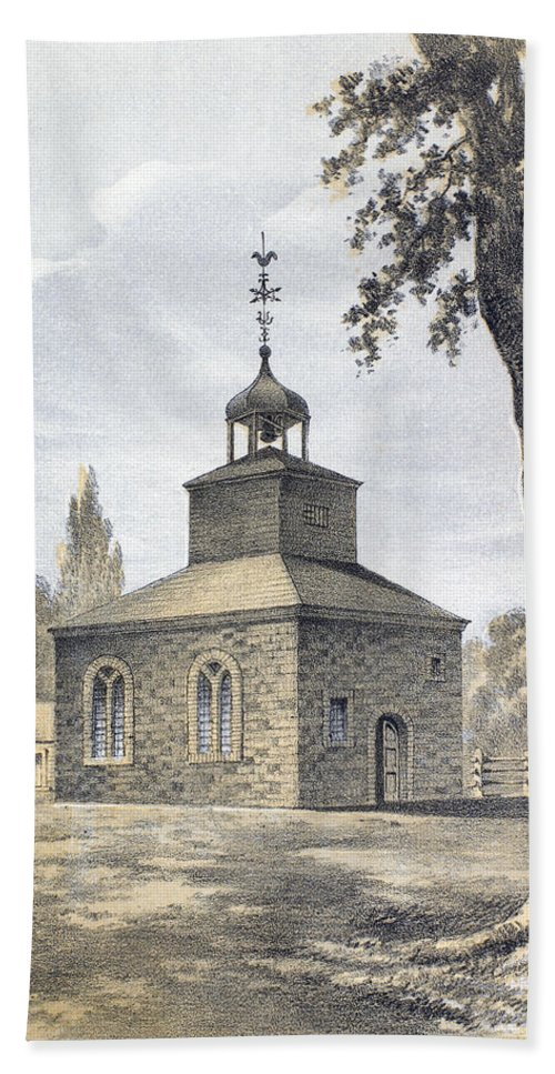1776 Hand Towel featuring the photograph New York: Jamaica Church by Granger
