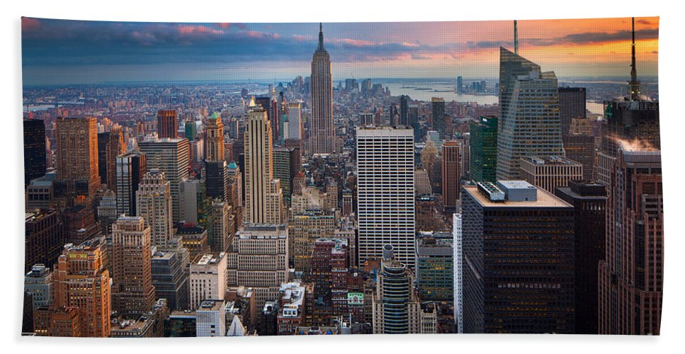 America Bath Towel featuring the photograph New York New York by Inge Johnsson