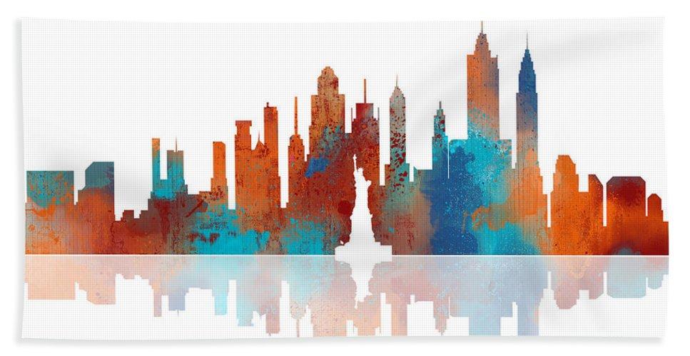 Watercolor Hand Towel featuring the digital art New York New York Skyline by Marlene Watson