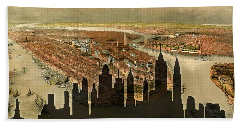 New York Bath Sheet featuring the photograph New York Old And New by Andrew Fare