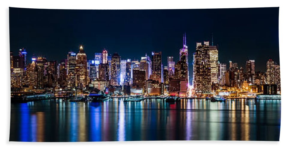 America Hand Towel featuring the photograph New York Panorama By Night by Mihai Andritoiu