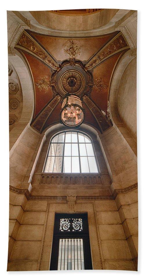 Manhattan Bath Sheet featuring the photograph New York Public Library Stairwell by Steve Rosenbach