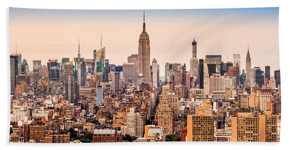 Aerial Hand Towel featuring the photograph New York Skyline Panorama by Mihai Andritoiu
