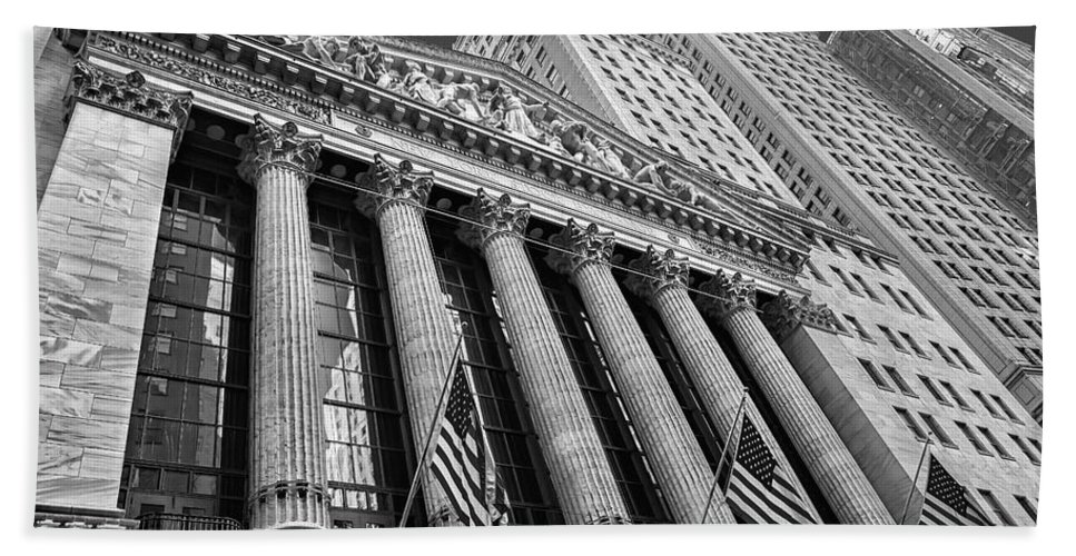 New York Stock Exchange Bath Sheet featuring the photograph New York Stock Exchange Wall Street Nyse Bw by Susan Candelario