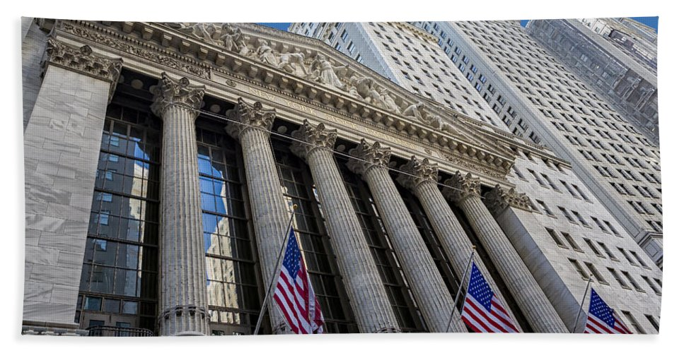 New York Stock Exchange Bath Sheet featuring the photograph New York Stock Exchange Wall Street Nyse by Susan Candelario