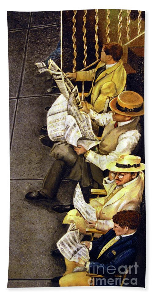 Newspaper Bath Sheet featuring the painting New York Times by Linda Simon