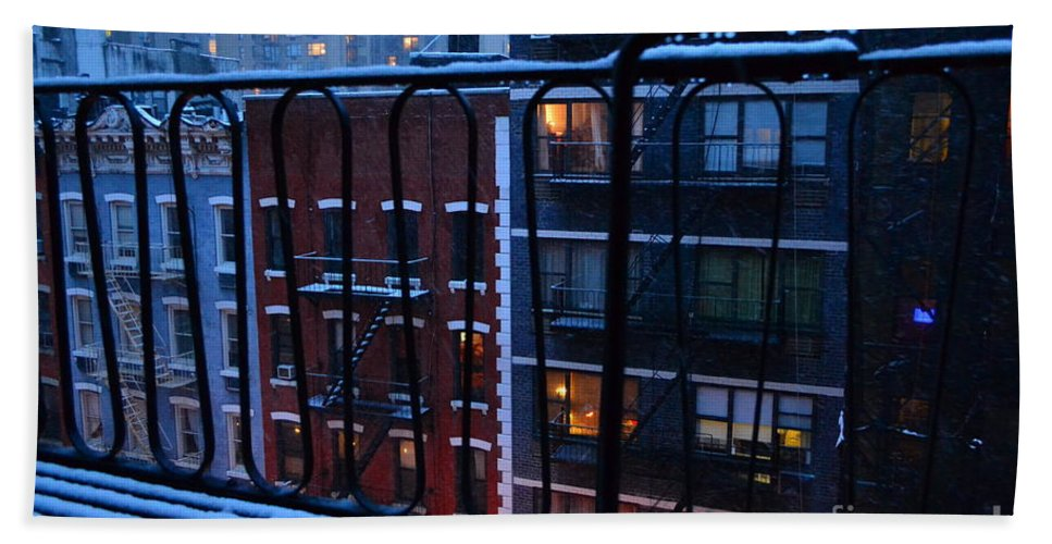 New York Hand Towel featuring the photograph New York Window - Fire Escape In Winter by Miriam Danar
