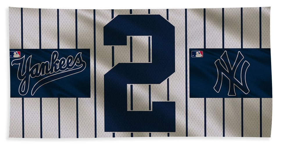 Yankees Bath Towel featuring the photograph New York Yankees Derek Jeter by Joe Hamilton
