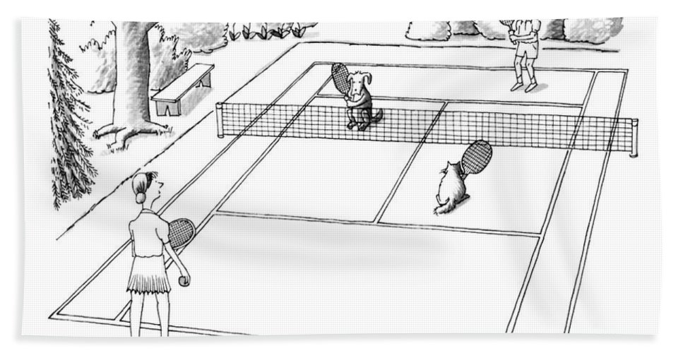 118758 Pst Peter Steiner (couple Playing Tennis With Their Pets.) Mixed Doubles Animals Best Canines Cat Cats Court Dog Doggie Dogs Feline Felines Friend Man's Match Pet Pets Play Playing Pooch Puppies Puppy Sport Sports Tennis Bath Sheet featuring the drawing New Yorker June 3rd, 1991 by Peter Steiner