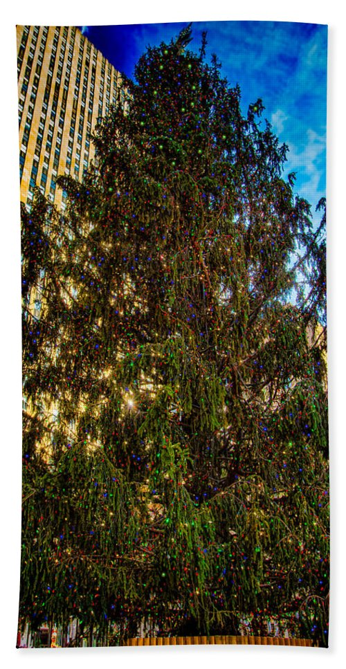 Holiday Bath Sheet featuring the photograph New York's Holiday Tree by Chris Lord