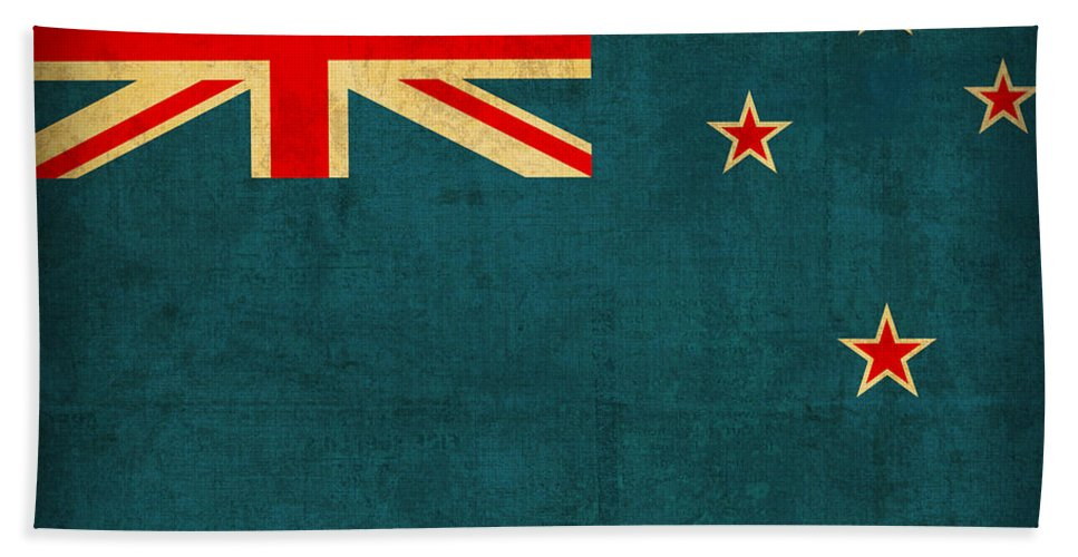 New Hand Towel featuring the mixed media New Zealand Flag Vintage Distressed Finish by Design Turnpike