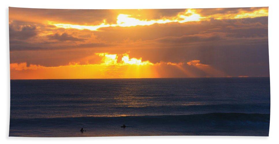 Beach Bath Sheet featuring the photograph New Zealand Surfing Sunset by Amanda Stadther