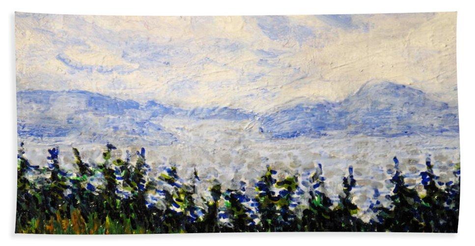 Newfoundland Hand Towel featuring the painting Newfoundland Up The West Coast by Ian MacDonald