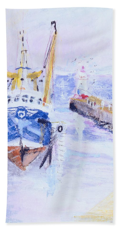 Fishing Boat Bath Towel featuring the photograph Newlyn, Cornwall, 2005 Oil Pastel & Acrylic On Board by Sophia Elliot