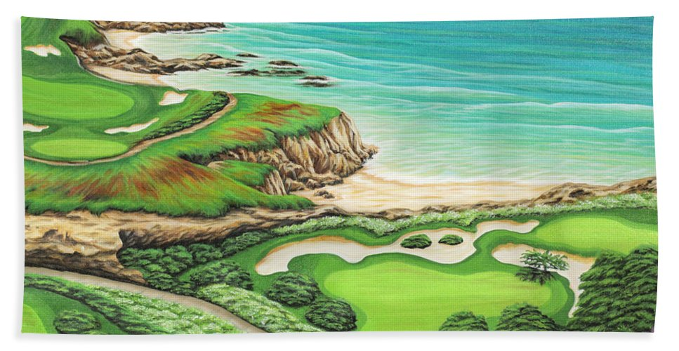 Ocean Hand Towel featuring the painting Newport Coast by Jane Girardot