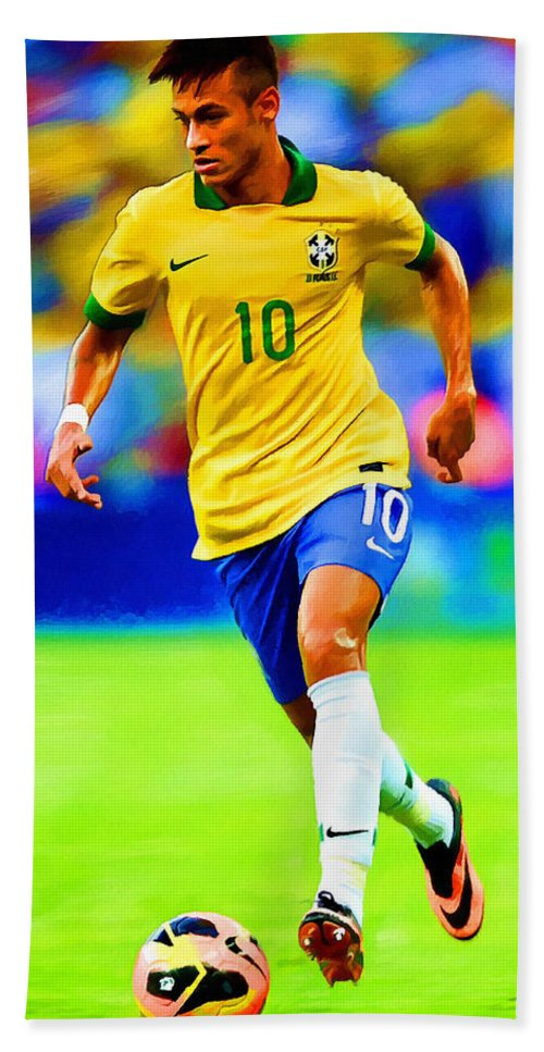 Neymar Hand Towel featuring the painting Neymar Soccer Football Art Portrait Painting by Andres Ramos