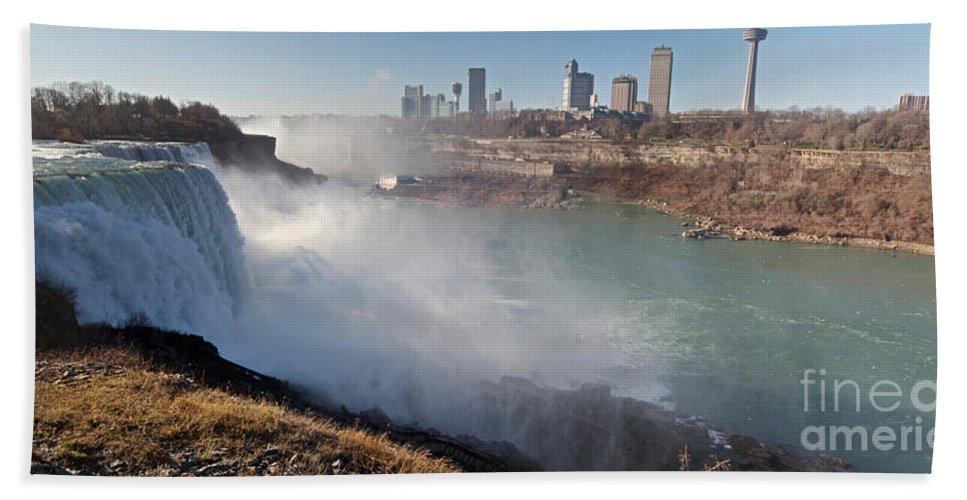 Niagara Falls Hand Towel featuring the photograph Niagara Falls Panorama by William Norton