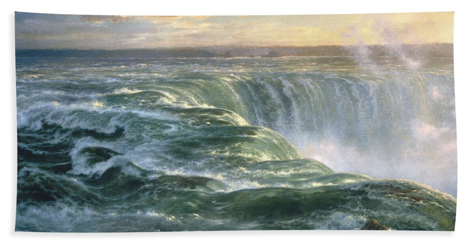 Louis Remy Mignot Hand Towel featuring the painting Niagara by Louis Remy Mignot