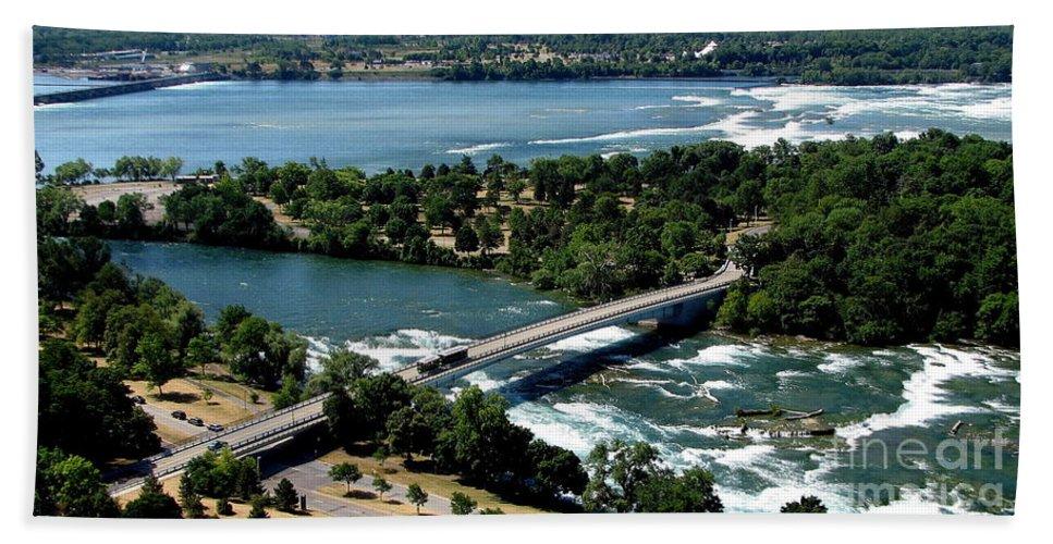 Niagara River Bath Sheet featuring the photograph Niagara River And Goat Island Aerial View by Rose Santuci-Sofranko