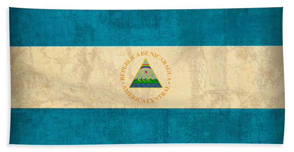 Nicaragua Hand Towel featuring the mixed media Nicaragua Flag Vintage Distressed Finish by Design Turnpike