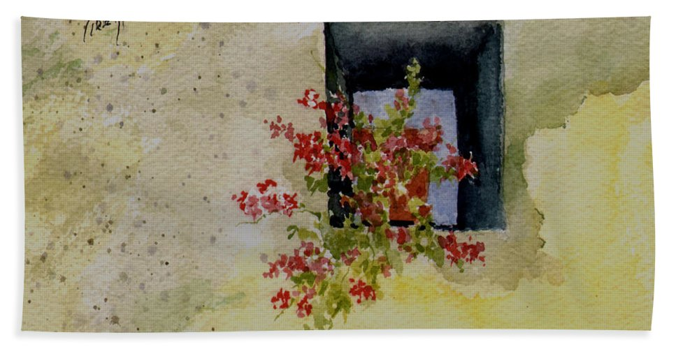 Niche Bath Towel featuring the painting Niche with Flowers by Sam Sidders