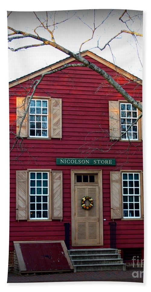 Nicolson Store Bath Sheet featuring the photograph Nicolson Store by Patti Whitten