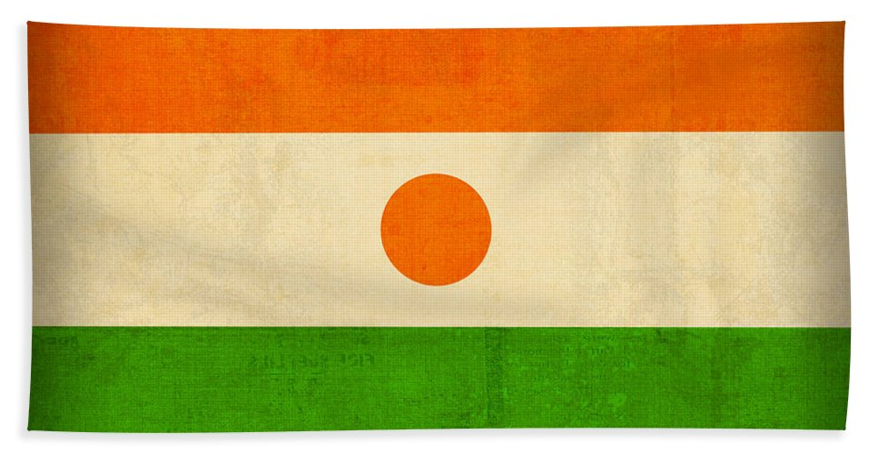 Niger Hand Towel featuring the mixed media Niger Flag Vintage Distressed Finish by Design Turnpike