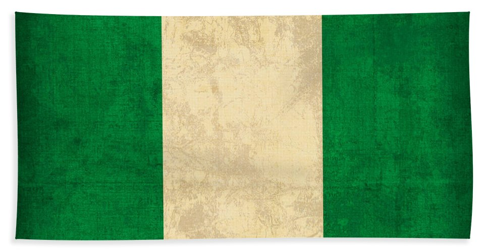 Nigeria Hand Towel featuring the mixed media Nigeria Flag Vintage Distressed Finish by Design Turnpike
