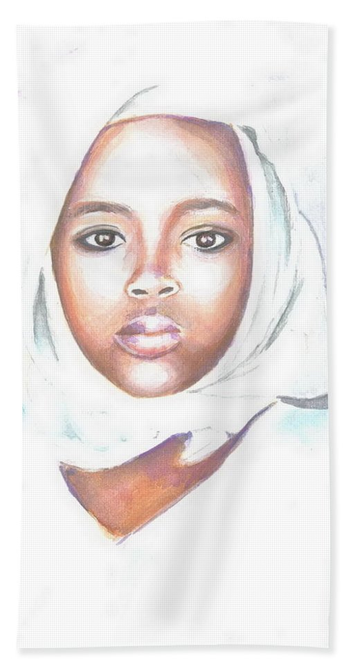 Figurative Hand Towel featuring the painting Nigerian Girl by Jovica Kostic