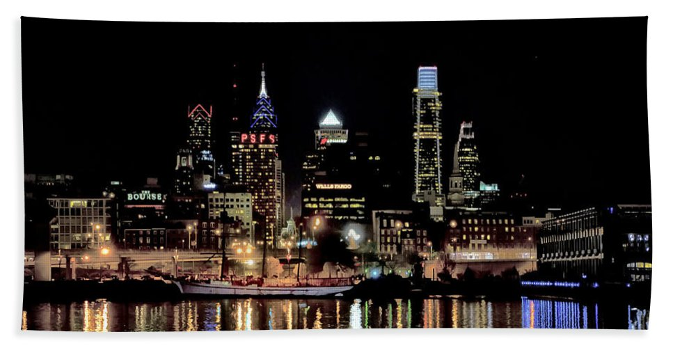 Night Hand Towel featuring the photograph Night At Penn's Landing - Philadelphia by Bill Cannon
