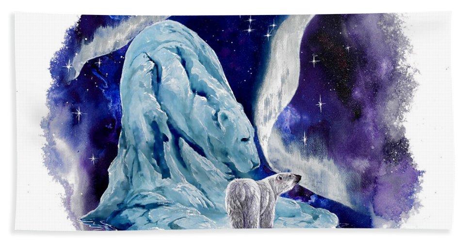 Polar Bear Hand Towel featuring the painting Night Bear by Sherry Shipley
