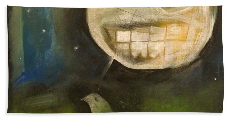 Moon Bath Towel featuring the painting Night Bird Harvest Moon by Tim Nyberg