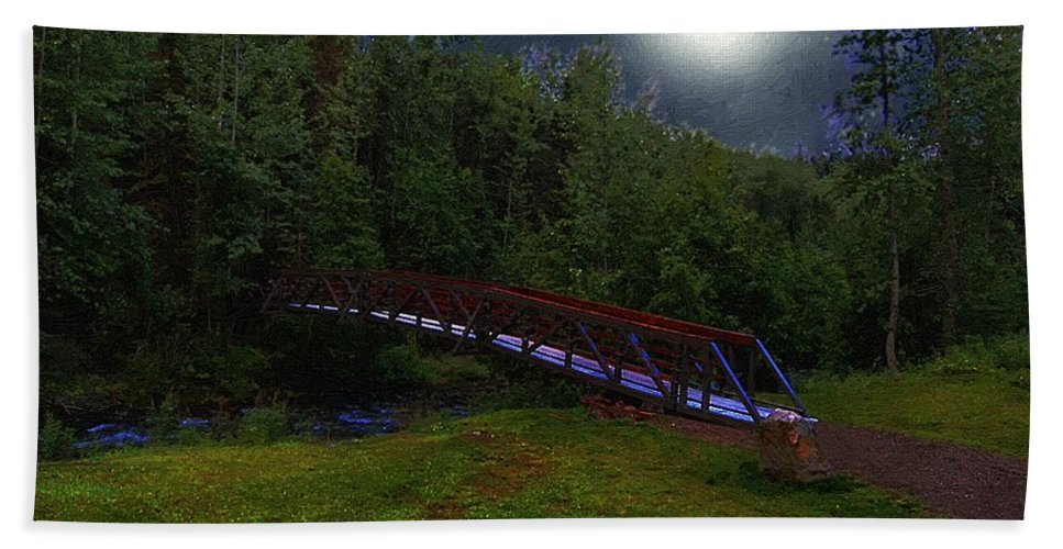 Bridge Bath Sheet featuring the painting Night Crossing by RC DeWinter