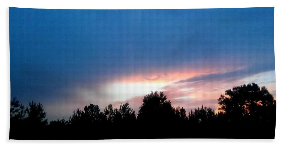 Night Falls Hand Towel featuring the photograph Night Falls by Maria Urso