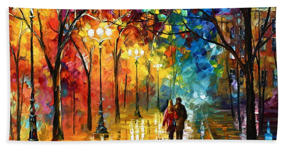 Afremov Hand Towel featuring the painting Night Fantasy by Leonid Afremov