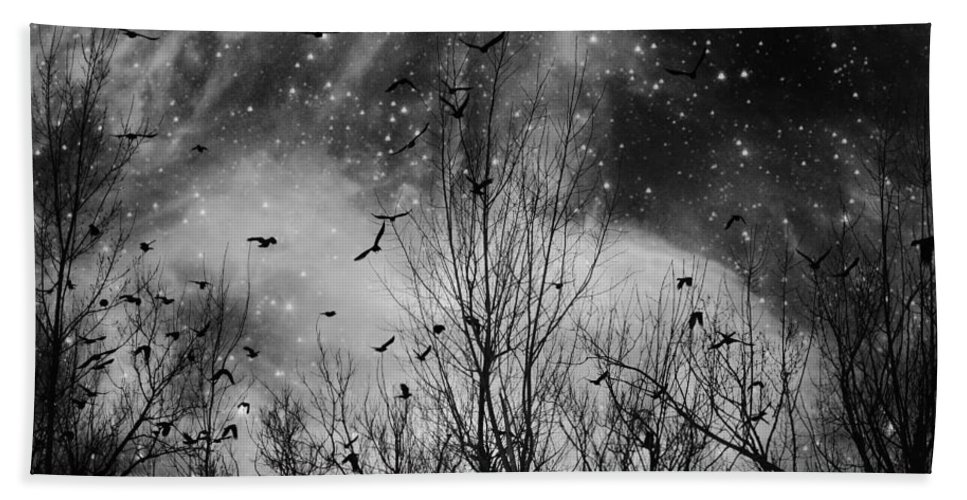Sparkling Stars At Night Hand Towel featuring the digital art Burst Of The Night Flight by Gothicrow Images