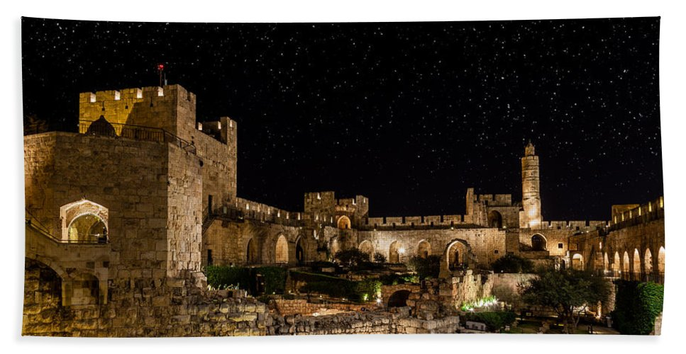 Israel Hand Towel featuring the photograph Night In The Old City by Alexey Stiop