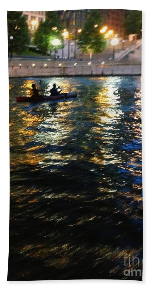 Kayak; Boat; Boaters; Tandem; Two; Water; Lake; River; Bay; City; Lights; Abstract; Reflection; Night; Nightttime; Waterfront; Silhouette; Colors; Colorful; Trees; Citywalk; Chicago; Chicago River; Illinois Hand Towel featuring the photograph Night Kayak Ride by Margie Hurwich
